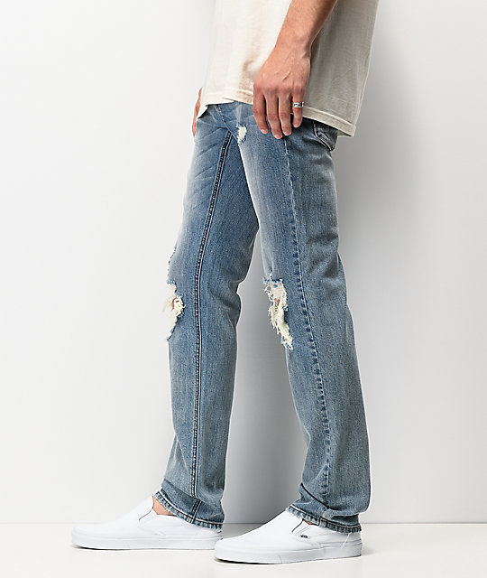 Empyre Skeletor Cirrus Medium Blue Ripped Skinny Jeans