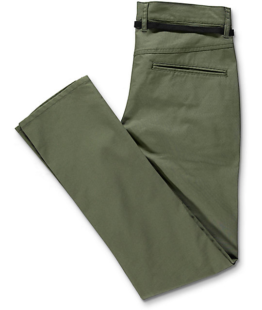 Empyre Skeletor Skinny Fit Olive Canvas Chino Pants