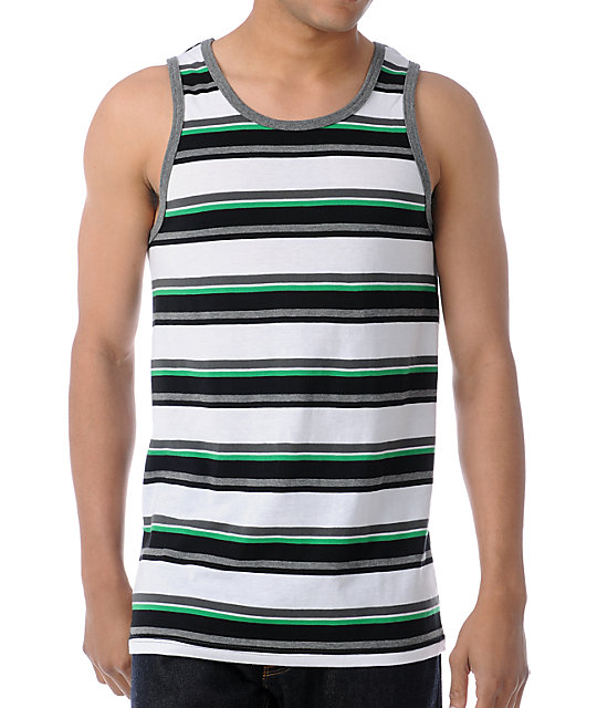 Empyre Spar Green & Charcoal Stripe Tank Top