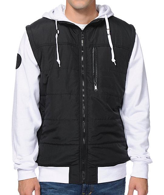 Special Ops Black & White Zip Up Hooded Vest Jacket
