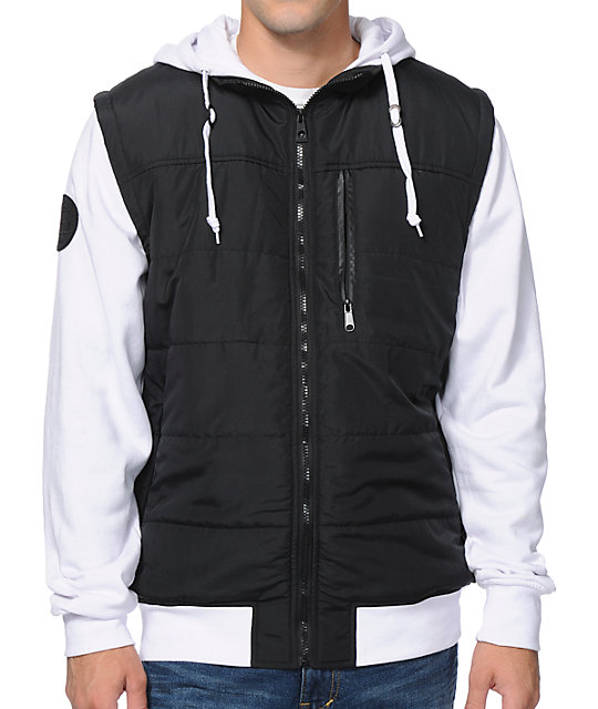 Special Ops Black & White Zip Up Hooded Vest Jacket