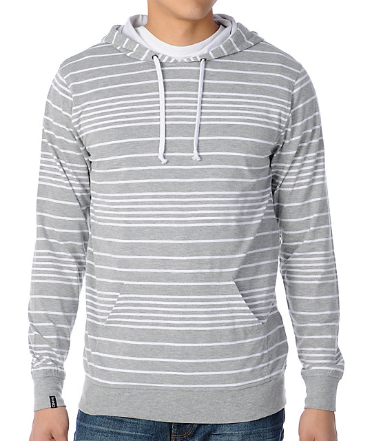 Empyre Squatter Grey Stripe Long Sleeve Pullover Hooded Shirt
