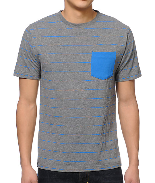 Empyre St-shirtze Grey & Blue Striped Pocket T-Shirt