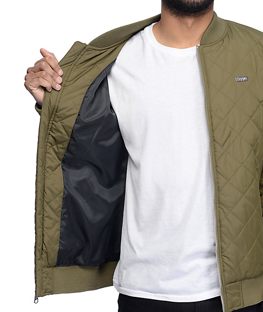 Empyre Stealth Olive Quilted Bomber Jacket