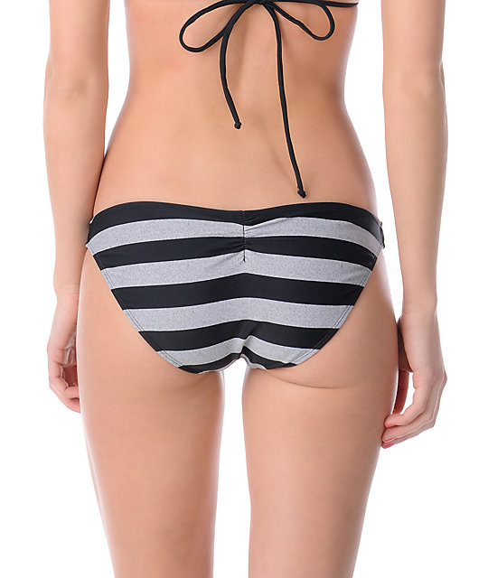 Empyre Stilt Black & Grey Striped Cinch Bikini Bottom