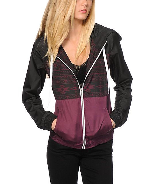 Empyre Sutton Black & Burgundy Tribal Windbreaker Jacket at Zumiez ...