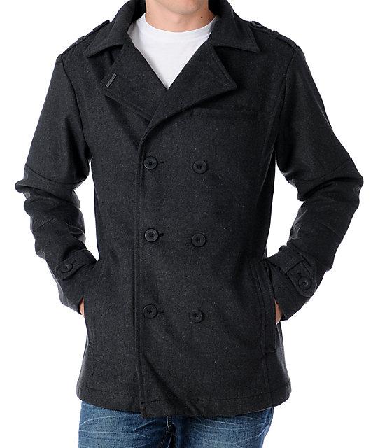 Empyre Swagger Mens Charcoal Grey Pea Coat | Zumiez