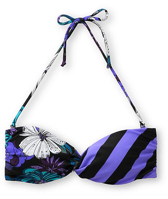 Empyre Swivel Teal Floral Bandeau Bikini Top