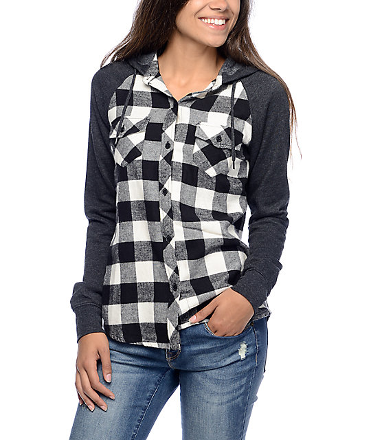 empyre sycamore black white plaid hooded flannel shirt