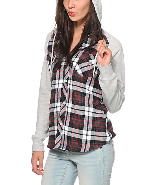Empyre Sycamore Red & Grey Hooded Flannel Shirt