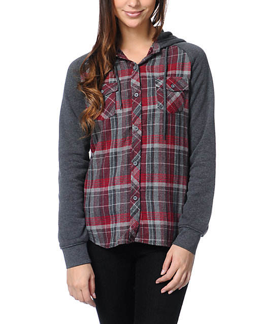 Empyre Sycamore Red Plaid Hooded Flannel Shirt