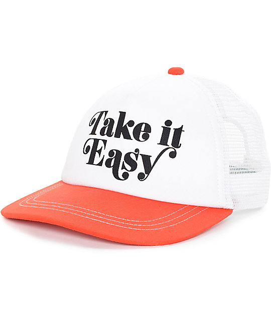 empyre take it easy white red trucker hat. Black Bedroom Furniture Sets. Home Design Ideas