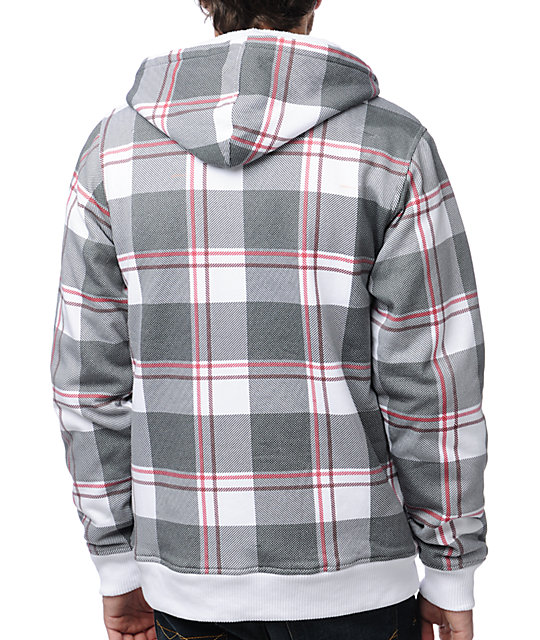 Empyre Tanner White & Red Plaid Sherpa Fleece Hoodie