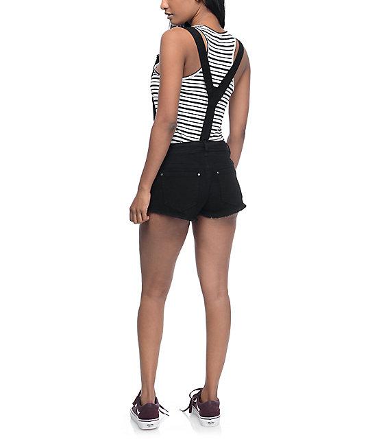 Empyre Taryn Black Destroyed Denim Overall Shorts
