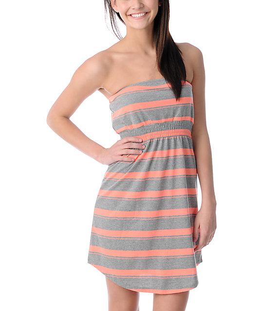 Empyre Teaberry & Grey Stripe Tube Dress