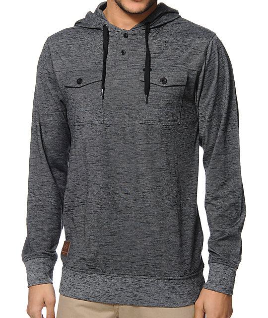 Empyre Terrain Grey Henley Hooded Shirt