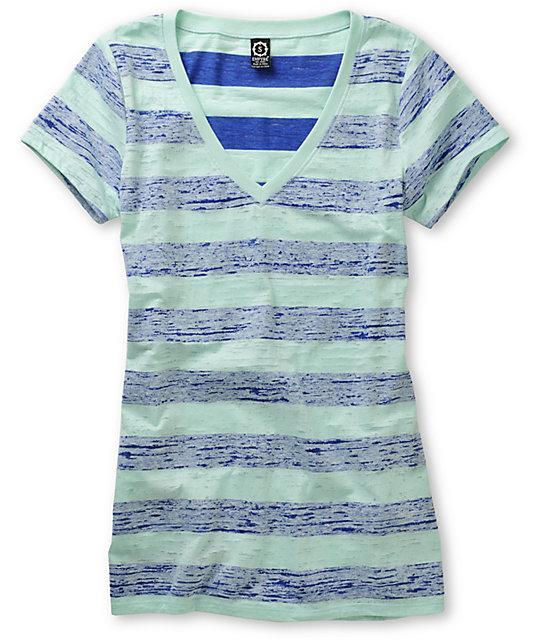 Empyre Tesla Mazarine & Eggshell Striped T-Shirt