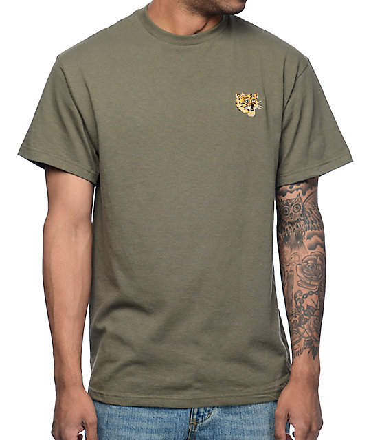 Tiger Embroidery Olive T-Shirt
