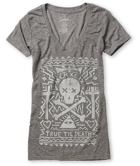 Empyre Til Death Heather Charcoal V-Neck T-Shirt
