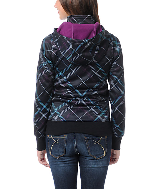 Empyre Timber Black & Purple Plaid Full Zip Tech Fleece Jacket