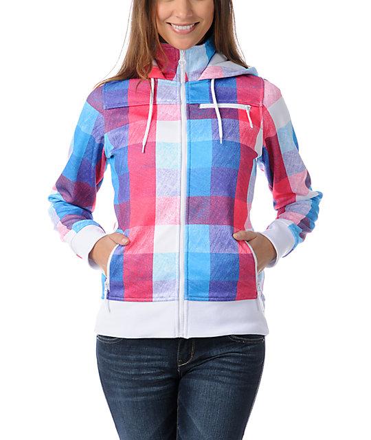 Empyre Timber Pink & Blue Plaid Tech Fleece Jacket