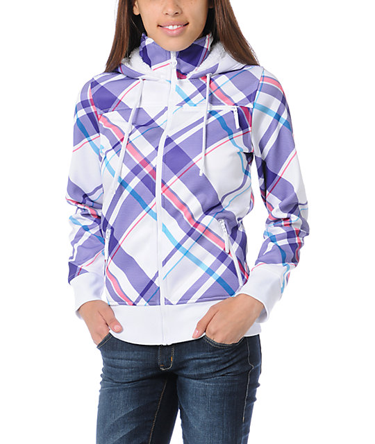 Empyre Timber White & Purple Plaid Full Zip Tech Fleece Jacket