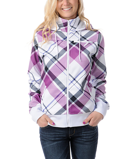 Empyre Timber White & Purple Plaid Tech Fleece Jacket