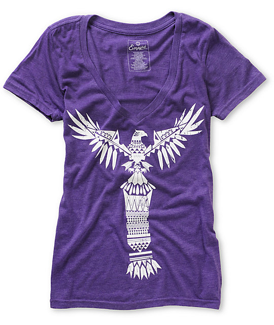 Empyre Totem Heather Purple V-Neck T-Shirt