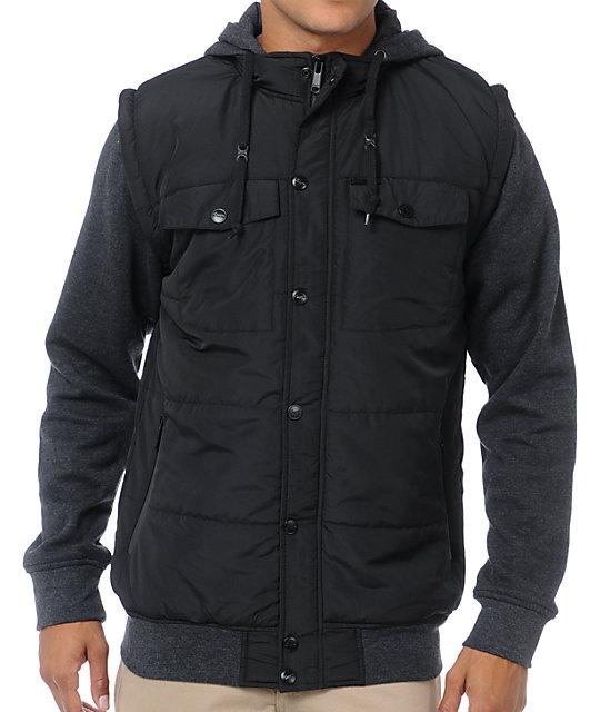 Empyre Trendon Charcoal & Black Vest Hoodie