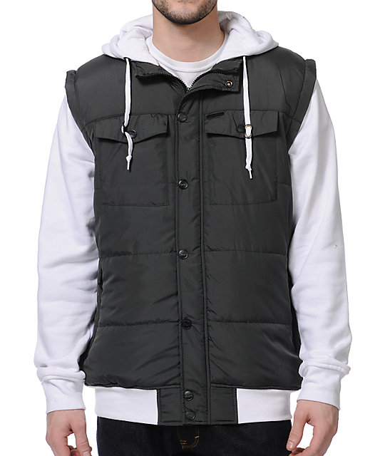 Empyre Trendon Charcoal & White Hooded Vest Jacket