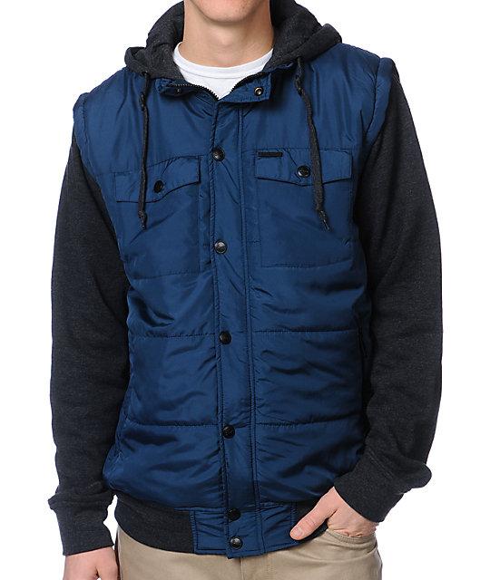 Empyre Trendon Navy & Charcoal Hooded Vest Jacket