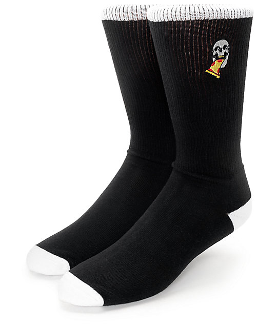Empyre Tricks Pizza Skull Black Crew Socks
