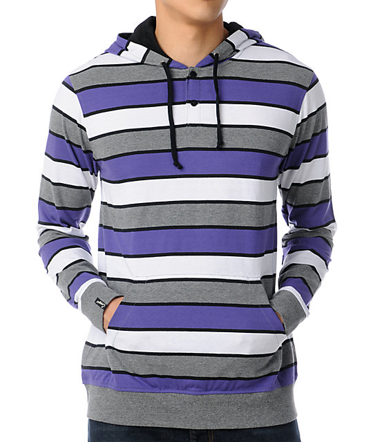 Empyre Trouper Purple Stripe Knit Henley Hoodie