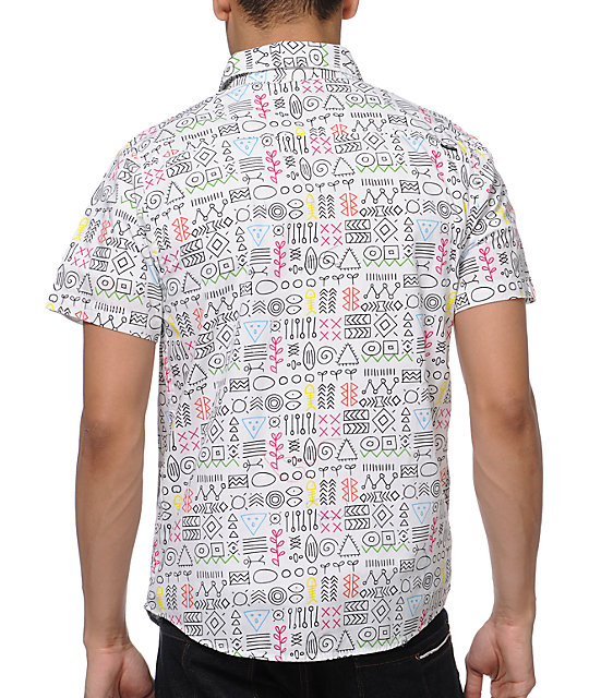 Empyre Tune Yards White Print Button Up Shirt