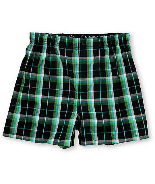 Empyre Tyson Black & Green Plaid Boxers