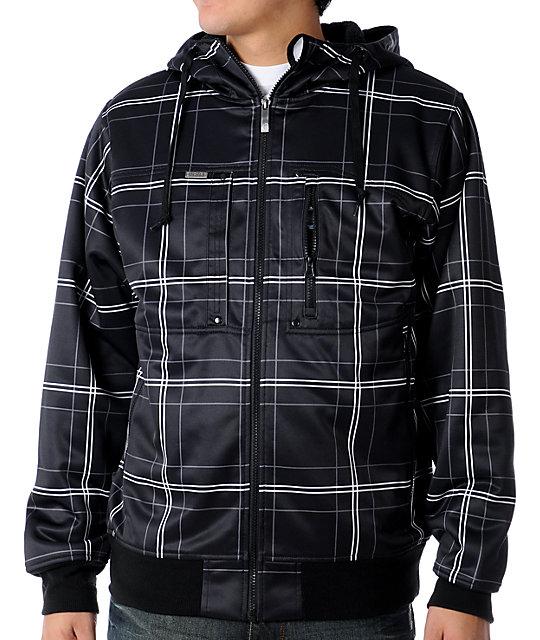 Empyre Underrated Black Plaid Tech Fleece Jacket