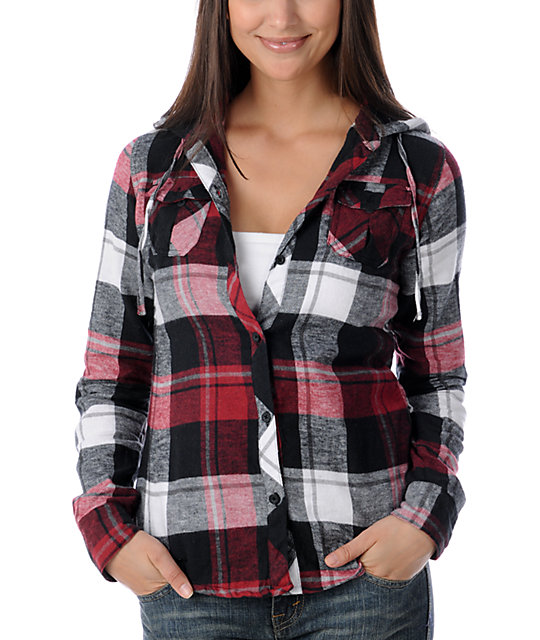 Empyre Unison Red & Black Hooded Flannel Shirt