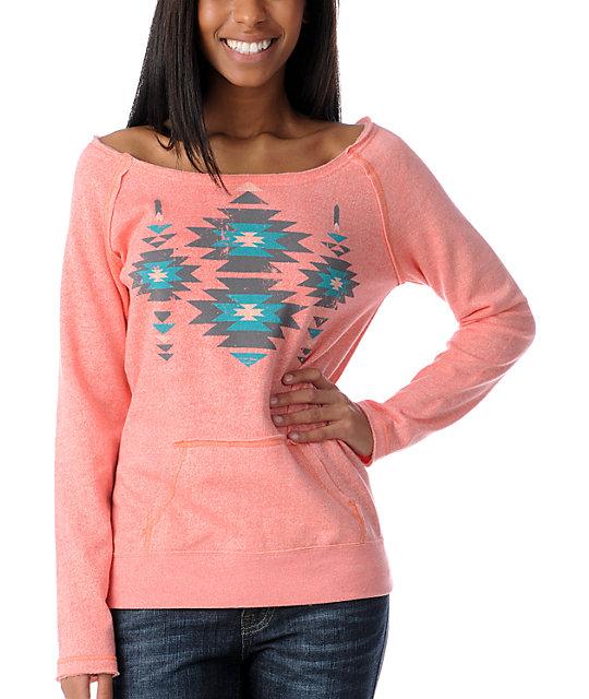 Empyre Urbana Coral Native Pullover Crew Neck Sweatshirt