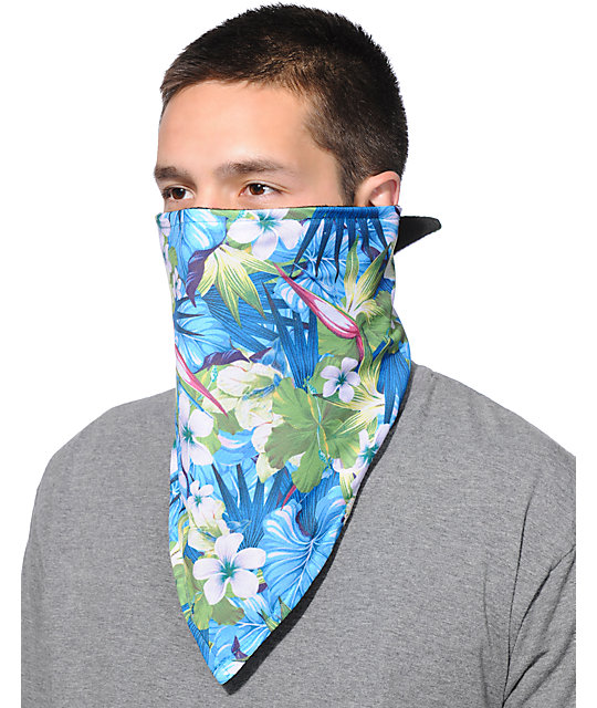 Empyre Vacation Blue Floral Print Face Mask Bandana