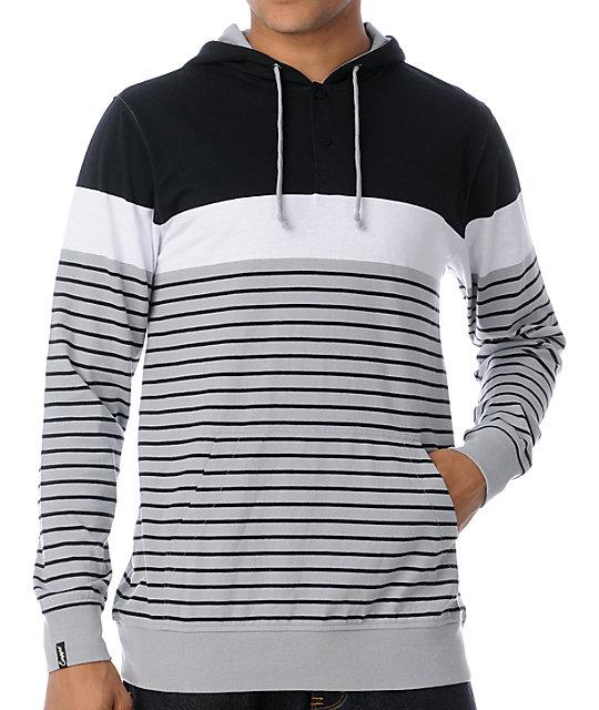 Empyre Vader Grey Stripe Knit Henley Hoodie