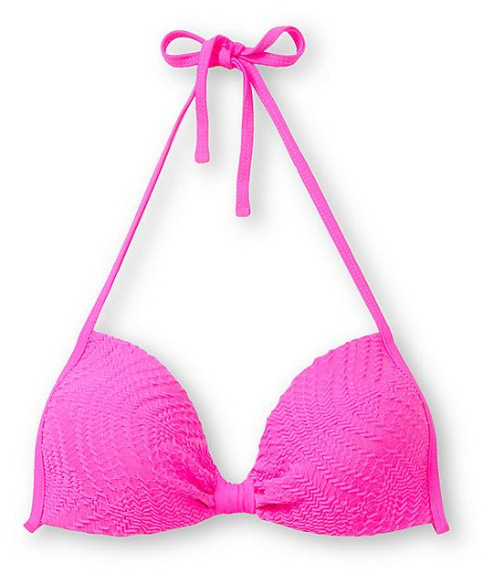 Empyre Variant Hot Pink Crochet Molded Cup Bikini Top