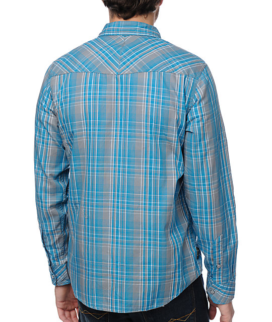 Empyre Vault Turquoise Plaid Woven Shirt