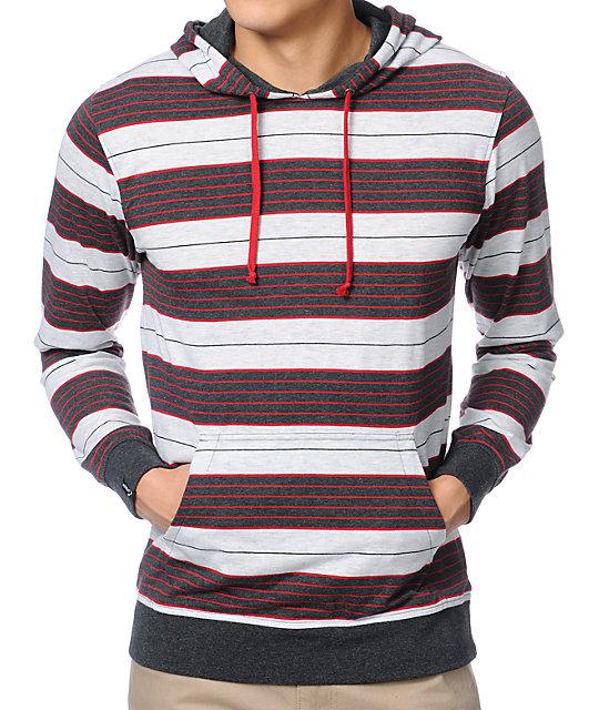 Empyre Verdict Red & Grey Stripe Knit Hoodie