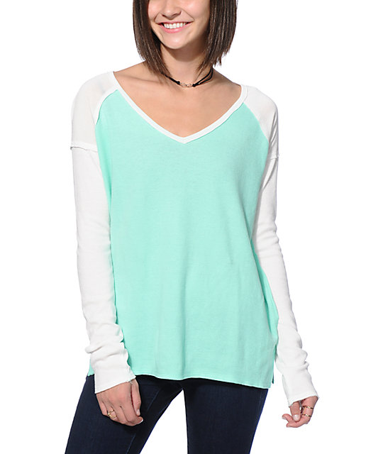 Empyre Vergara Mint & Cream Shoulder Block Thermal Top
