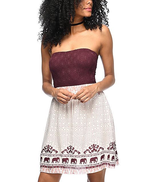 Empyre Vita Burgundy & Cream Strapless Dress