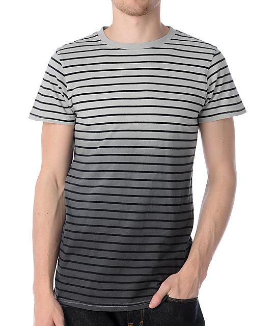 Empyre Wash Out Striped Charcoal Dip Dye T-Shirt