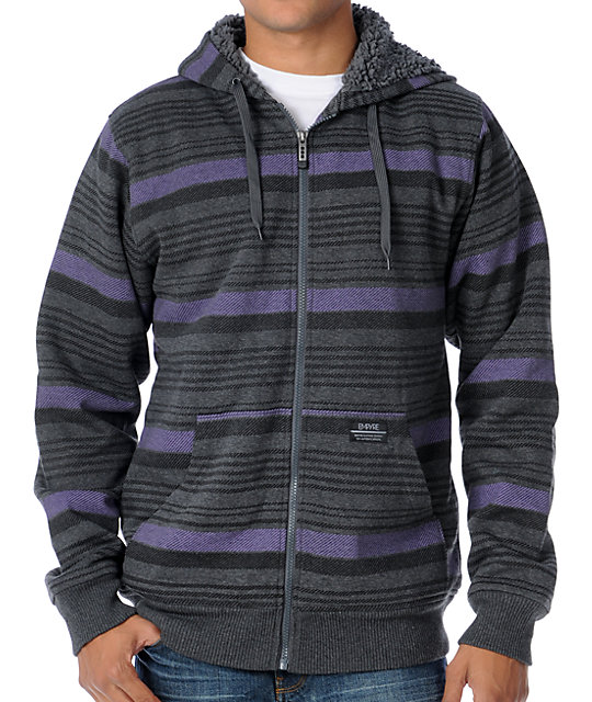 Empyre Whilom Charcoal Stripe Sherpa Fleece Hoodie