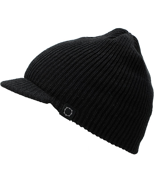 Empyre Whitman Black Knit Visor Beanie