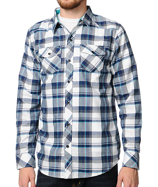 Empyre Whoop White Plaid Woven Shirt
