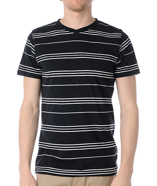 Empyre Wigwam Black Striped V-Neck T-Shirt
